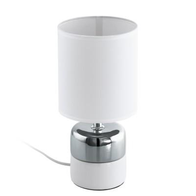 97098 Eglo - Настольная лампа SORITA 2Современные настольные лампы модерн<br><br><br>Тип лампы: Накаливания / энергосбережения / светодиодная<br>Тип цоколя: E14<br>Цвет арматуры: белый/серебристый<br>Количество ламп: 1<br>Диаметр, мм мм: 140<br>Размеры основания, мм: 100<br>Высота, мм: 295<br>Поверхность арматуры: глянцевая/матовая<br>Оттенок (цвет): белый<br>MAX мощность ламп, Вт: 40