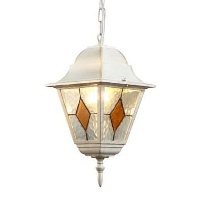Светильник уличный Arte lamp A1015SO-1WG BERLINПодвесные уличные светильники<br><br><br>Тип цоколя: E27<br>Цвет арматуры: белый-ЗОЛОТОЙ<br>Количество ламп: 1<br>Диаметр, мм мм: 190<br>Длина цепи/провода, мм: 500<br>Длина, мм: 190<br>Высота, мм: 340<br>MAX мощность ламп, Вт: 75W<br>Общая мощность, Вт: 75W