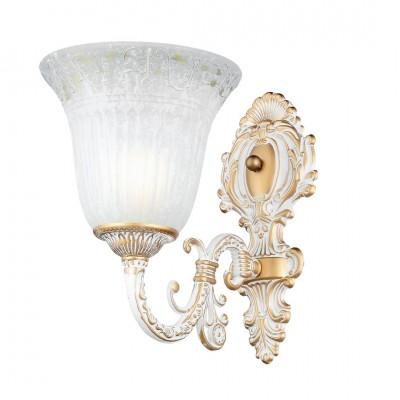 Светильник Arte lamp A1032AP-1WG DELIZIAСовременные<br><br><br>Тип лампы: Накаливания / энергосбережения / светодиодная<br>Тип цоколя: E27<br>Цвет арматуры: белый с золотистой патиной<br>Количество ламп: 1<br>Размеры: H33xW17xL26<br>MAX мощность ламп, Вт: 60