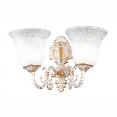 Светильник Arte lamp A1032AP-2WG DELIZIAКлассические<br><br><br>Тип лампы: Накаливания / энергосбережения / светодиодная<br>Тип цоколя: E27<br>Количество ламп: 2<br>MAX мощность ламп, Вт: 60<br>Размеры: H33xW24xL42<br>Цвет арматуры: белый с золотистой патиной