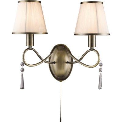 Бра с двумя рожками Arte lamp A1035AP-2AB LogicoКлассические<br><br><br>S освещ. до, м2: 4<br>Тип лампы: накаливания / энергосбережения / LED-светодиодная<br>Тип цоколя: E14<br>Цвет арматуры: бронзовый<br>Количество ламп: 2<br>Ширина, мм: 370<br>Длина, мм: 200<br>Высота, мм: 320<br>Оттенок (цвет): белый<br>MAX мощность ламп, Вт: 40