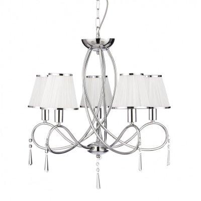 Люстра подвесная Arte lamp A1035LM-5CC LogicoПодвесные<br>Компания «Светодом» предлагает широкий ассортимент люстр от известных производителей. Представленные в нашем каталоге товары выполнены из современных материалов и обладают отличным качеством. Благодаря широкому ассортименту Вы сможете найти у нас люстру под любой интерьер. Мы предлагаем как классические варианты, так и современные модели, отличающиеся лаконичностью и простотой форм.  Стильная люстра Arte lamp A1035LM-5CC станет украшением любого дома. Эта модель от известного производителя не оставит равнодушным ценителей красивых и оригинальных предметов интерьера. Люстра Arte lamp A1035LM-5CC обеспечит равномерное распределение света по всей комнате. При выборе обратите внимание на характеристики, позволяющие приобрести наиболее подходящую модель. Купить понравившуюся люстру по доступной цене Вы можете в интернет-магазине «Светодом».<br><br>Установка на натяжной потолок: Да<br>S освещ. до, м2: 13<br>Крепление: Крюк<br>Тип лампы: накаливания / энергосбережения / LED-светодиодная<br>Тип цоколя: E14<br>Количество ламп: 5<br>MAX мощность ламп, Вт: 40<br>Диаметр, мм мм: 550<br>Длина цепи/провода, мм: 550<br>Высота, мм: 590<br>Оттенок (цвет): белый<br>Цвет арматуры: серебристый