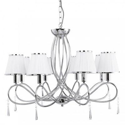 Люстра подвесная Arte lamp A1035LM-8CC LogicoПодвесные<br><br><br>Установка на натяжной потолок: Да<br>S освещ. до, м2: 21<br>Крепление: Крюк<br>Тип товара: Люстра подвесная<br>Тип лампы: накаливания / энергосбережения / LED-светодиодная<br>Тип цоколя: E14<br>Количество ламп: 8<br>MAX мощность ламп, Вт: 40<br>Диаметр, мм мм: 700<br>Длина цепи/провода, мм: 550<br>Высота, мм: 640<br>Оттенок (цвет): белый<br>Цвет арматуры: серебристый
