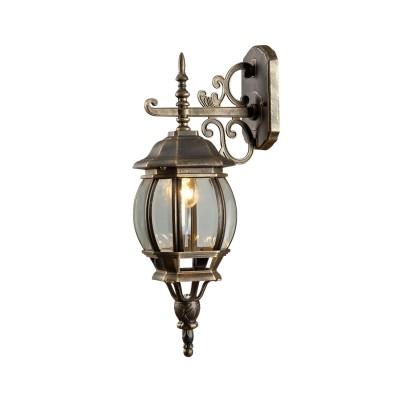 Светильник уличный Arte lamp A1042AL-1BN ATLANTAУличные настенные светильники<br><br><br>Тип цоколя: E27<br>Цвет арматуры: ЧЕРНО-ЗОЛОТОЙ<br>Количество ламп: 1<br>Диаметр, мм мм: 160<br>Длина, мм: 220<br>Высота, мм: 520<br>MAX мощность ламп, Вт: 75W<br>Общая мощность, Вт: 75W