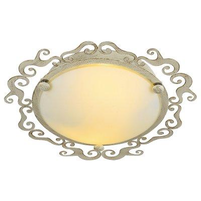 Светильник Arte lamp A1060PL-2WG RiccioliКруглые<br><br><br>S освещ. до, м2: 6<br>Тип товара: Светильник<br>Скидка, %: 15<br>Тип лампы: Накаливания / энергосбережения / светодиодная<br>Тип цоколя: E27<br>Количество ламп: 2<br>MAX мощность ламп, Вт: 60<br>Диаметр, мм мм: 320<br>Высота, мм: 90<br>Цвет арматуры: белый с золотистой патиной
