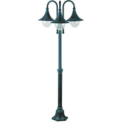 Светильник уличный Arte lamp A1086PA-3BG MalagaБольшие фонари<br>Обеспечение качественного уличного освещения – важная задача для владельцев коттеджей. Компания «Светодом» предлагает современные светильники, которые порадуют Вас отличным исполнением. В нашем каталоге представлена продукция известных производителей, пользующихся популярностью благодаря высокому качеству выпускаемых товаров.   Уличный светильник Arte lamp A1086PA-3BG не просто обеспечит качественное освещение, но и станет украшением Вашего участка. Модель выполнена из современных материалов и имеет влагозащитный корпус, благодаря которому ей не страшны осадки.   Купить уличный светильник Arte lamp A1086PA-3BG, представленный в нашем каталоге, можно с помощью онлайн-формы для заказа. Чтобы задать имеющиеся вопросы, звоните нам по указанным телефонам. Мы доставим Ваш заказ не только в Москву и Екатеринбург, но и другие города.<br><br>S освещ. до, м2: 20<br>Тип лампы: накаливания / энергосбережения / LED-светодиодная<br>Тип цоколя: E27<br>Количество ламп: 3<br>Ширина, мм: 760<br>MAX мощность ламп, Вт: 100<br>Диаметр, мм мм: 760<br>Длина, мм: 760<br>Высота, мм: 2300<br>Цвет арматуры: медный
