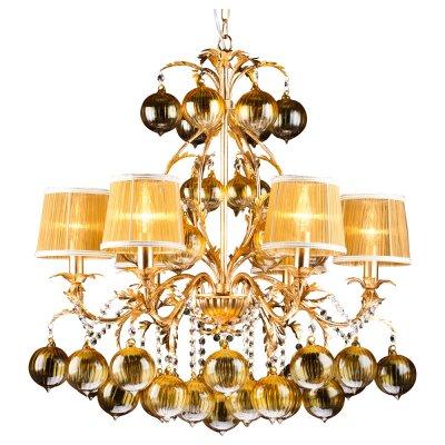 Светильник Arte lamp A1199LM-6GO MONARCHПодвесные<br>Компани «Светодом» предлагает широкий ассортимент лстр от известных производителей. Представленные в нашем каталоге товары выполнены из современных материалов и обладат отличным качеством. Благодар широкому ассортименту Вы сможете найти у нас лстру под лбой интерьер. Мы предлагаем как классические варианты, так и современные модели, отличащиес лаконичность и простотой форм.  Стильна лстра Arte lamp A1199LM-6GO станет украшением лбого дома. Эта модель от известного производител не оставит равнодушным ценителей красивых и оригинальных предметов интерьера. Лстра Arte lamp A1199LM-6GO обеспечит равномерное распределение света по всей комнате. При выборе обратите внимание на характеристики, позволщие приобрести наиболее подходщу модель. Купить понравившус лстру по доступной цене Вы можете в интернет-магазине «Светодом».<br><br>Установка на натжной потолок: Да<br>S освещ. до, м2: 18<br>Крепление: Крк<br>Тип лампы: накал- - нергосбер-<br>Тип цокол: E14<br>Количество ламп: 6<br>MAX мощность ламп, Вт: 60<br>Диаметр, мм мм: 750<br>Высота, мм: 770<br>Цвет арматуры: золотой