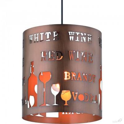 Светильник подвесной Arte lamp A1223SP-1BR CAFFETTERIAодиночные подвесные светильники<br><br><br>Крепление: Планка<br>Тип цоколя: E27<br>Цвет арматуры: КОРИЧНЕВЫЙ<br>Количество ламп: 1<br>Диаметр, мм мм: 230<br>Размеры: D230*H250<br>Длина цепи/провода, мм: 900<br>Длина, мм: 230<br>Высота, мм: 250<br>MAX мощность ламп, Вт: 60W<br>Общая мощность, Вт: 60W