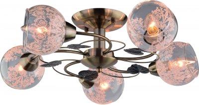 Светильник потолочный Arte lamp A1292PL-5AB MARTINAПотолочные<br><br><br>Установка на натяжной потолок: Ограничено<br>S освещ. до, м2: 10<br>Крепление: Планка<br>Тип товара: Светильник потолочный<br>Тип лампы: Накаливания / энергосбережения / светодиодная<br>Тип цоколя: E14<br>Количество ламп: 5<br>MAX мощность ламп, Вт: 40<br>Размеры: H33xW60xL60<br>Цвет арматуры: бронзовый