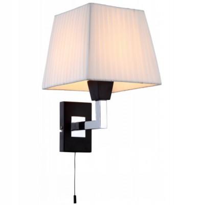Светильник бра Arte lamp A1295AP-1BK FusionКлассические<br>Настенное бра Arte lamp A1295AP-1BK Hall – это гармония чётких линий и идеальных пропорций содержания! Перед Вами яркий, но намеренно томный свет для создания особой зоны уединения, где Вы сможете обратиться к бесценным книгам, чашечке ароматного чая, беседам с близкими, а также окунуться в мир философии с самим собой. Лаконичная строгость конструкции в тон тёмному дереву дополнена текстильным абажуром белого свечения. Это важная и приятная классика в интерьере!<br><br>S освещ. до, м2: 4<br>Тип лампы: накаливания / энергосбережения / LED-светодиодная<br>Тип цоколя: E14<br>Количество ламп: 1<br>Ширина, мм: 200<br>MAX мощность ламп, Вт: 60<br>Диаметр, мм мм: 220<br>Расстояние от стены, мм: 220<br>Высота, мм: 300<br>Цвет арматуры: серебристый