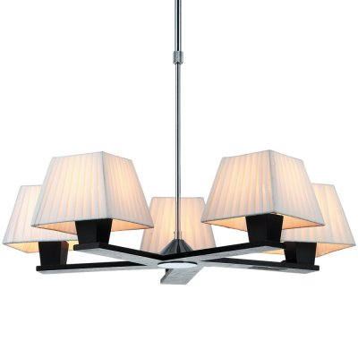 Люстра Arte lamp A1295LM-5BK FusionПодвесные<br>Изысканная эстетика в сочетании с интеллигентной скромностью – вот, что гармонично дополнит Ваш интерьер! К примеру, подвесная люстра Arte lamp A1295LM-5BK, выполненная в классическом стиле. Она может, как попасть в тон уже существующим предметам интерьера, так и стать законодательницей стиля для последующих приобретений. Лаконичная строгость конструкции в тон тёмному дереву дополнена текстильными абажурами белого свечения. Используйте в оформлении интерьера белые, серые, зелёные, чёрные, коричневые и другие цвета, чтобы подчеркнуть гармоничное сочетание люстры Arte lamp A1295LM-5BK с каждой составляющей дизайна, в том числе мебелью из натурального дерева.<br><br>Установка на натяжной потолок: Да<br>S освещ. до, м2: 20<br>Тип лампы: накаливания / энергосбережения / LED-светодиодная<br>Тип цоколя: E14<br>Количество ламп: 5<br>Ширина, мм: 650<br>MAX мощность ламп, Вт: 60<br>Диаметр, мм мм: 650<br>Длина цепи/провода, мм: 250 - 400<br>Высота, мм: 300<br>Цвет арматуры: серебристый хром