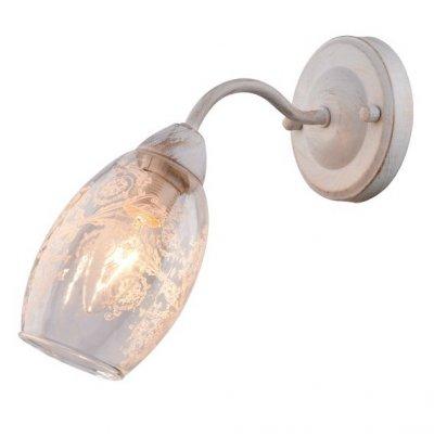 Светильник Arte lamp A1296AP-1WG BETTINAСовременные<br><br><br>Тип лампы: Накаливания / энергосбережения / светодиодная<br>Тип цоколя: E14<br>Количество ламп: 1<br>MAX мощность ламп, Вт: 40<br>Размеры: H20xW24xL11<br>Цвет арматуры: белый с золотистой патиной