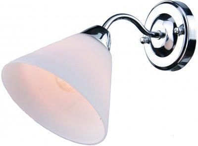 Светильник Arte lamp A1298AP-1CC FEDERICAМодерн<br><br><br>Тип товара: Светильник настенный бра<br>Тип лампы: Накаливания / энергосбережения / светодиодная<br>Тип цоколя: E14<br>Количество ламп: 1<br>MAX мощность ламп, Вт: 40<br>Размеры: H23xW28xL11<br>Цвет арматуры: серебристый