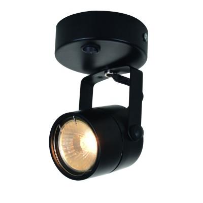 Светильник черный A1310AP-1BK Arte lampодиночные споты<br><br><br>S освещ. до, м2: 3<br>Тип цоколя: GU10<br>Цвет арматуры: ЧЕРНЫЙ<br>Количество ламп: 1<br>Диаметр, мм мм: 80<br>Размеры: D80*H115mm<br>Длина, мм: 140<br>Высота, мм: 80<br>MAX мощность ламп, Вт: 50W<br>Общая мощность, Вт: 50W