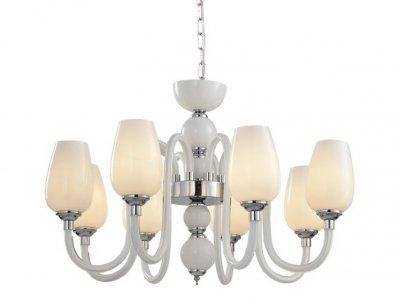 Светильник подвесной Arte lamp A1404LM-8WH LAVINIAПод заказ<br>Компания «Светодом» предлагает широкий ассортимент люстр от известных производителей. Представленные в нашем каталоге товары выполнены из современных материалов и обладают отличным качеством. Благодаря широкому ассортименту Вы сможете найти у нас люстру под любой интерьер. Мы предлагаем как классические варианты, так и современные модели, отличающиеся лаконичностью и простотой форм.  Стильная люстра Arte lamp A1404LM-8WH станет украшением любого дома. Эта модель от известного производителя не оставит равнодушным ценителей красивых и оригинальных предметов интерьера. Люстра Arte lamp A1404LM-8WH обеспечит равномерное распределение света по всей комнате. При выборе обратите внимание на характеристики, позволяющие приобрести наиболее подходящую модель. Купить понравившуюся люстру по доступной цене Вы можете в интернет-магазине «Светодом». Мы предлагаем доставку не только по Москве и Екатеринбурге, но и по всей России.<br><br>S освещ. до, м2: 16<br>Тип цоколя: E14<br>Цвет арматуры: белый<br>Количество ламп: 8<br>Размеры: H70xW70xL70+шн/цп120<br>MAX мощность ламп, Вт: 40