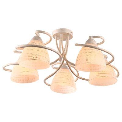 Светильник Arte lamp A1565PL-5WG FABIAПотолочные<br>Компания «Светодом» предлагает широкий ассортимент люстр от известных производителей. Представленные в нашем каталоге товары выполнены из современных материалов и обладают отличным качеством. Благодаря широкому ассортименту Вы сможете найти у нас люстру под любой интерьер. Мы предлагаем как классические варианты, так и современные модели, отличающиеся лаконичностью и простотой форм.  Стильная люстра Arte lamp A1565PL-5WG станет украшением любого дома. Эта модель от известного производителя не оставит равнодушным ценителей красивых и оригинальных предметов интерьера. Люстра Arte lamp A1565PL-5WG обеспечит равномерное распределение света по всей комнате. При выборе обратите внимание на характеристики, позволяющие приобрести наиболее подходящую модель. Купить понравившуюся люстру по доступной цене Вы можете в интернет-магазине «Светодом». Мы предлагаем доставку не только по Москве и Екатеринбурге, но и по всей России.<br><br>Установка на натяжной потолок: Ограничено<br>S освещ. до, м2: 10<br>Крепление: Планка<br>Тип цоколя: E14<br>Количество ламп: 5<br>MAX мощность ламп, Вт: 40<br>Диаметр, мм мм: 540<br>Высота, мм: 240