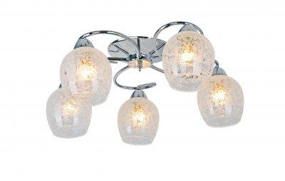 Светильник потолочный Arte lamp A1674PL-5CC GEMMAПотолочные<br><br><br>Установка на натяжной потолок: Ограничено<br>S освещ. до, м2: 15<br>Крепление: Планка<br>Тип товара: Светильник потолочный<br>Тип лампы: Накаливания / энергосбережения / светодиодная<br>Тип цоколя: E27<br>Количество ламп: 5<br>MAX мощность ламп, Вт: 60<br>Размеры: H20xW50xL50<br>Цвет арматуры: серебристый