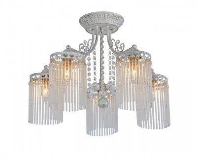 Светильник потолочный Arte lamp A1678PL-5WG TORRENTEПотолочные<br><br><br>Установка на натяжной потолок: Ограничено<br>S освещ. до, м2: 15<br>Крепление: Планка<br>Тип товара: Светильник потолочный<br>Тип лампы: Накаливания / энергосбережения / светодиодная<br>Тип цоколя: E14<br>Количество ламп: 5<br>MAX мощность ламп, Вт: 60<br>Размеры: H36xW55xL55<br>Цвет арматуры: белый с золотистой патиной