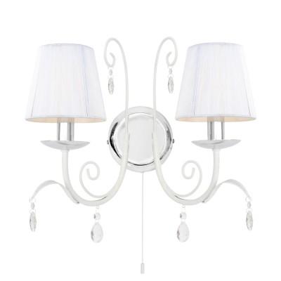 Светильник Arte lamp A1743AP-2WHКлассика<br><br><br>Тип лампы: накаливания / энергосбережения / LED-светодиодная<br>Тип цоколя: E14<br>Количество ламп: 2<br>Ширина, мм: 195<br>MAX мощность ламп, Вт: 40<br>Длина, мм: 355<br>Высота, мм: 340<br>Цвет арматуры: белый