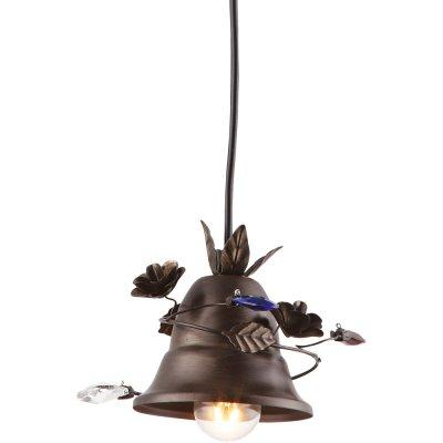 Подвесной светильник Arte lamp A1795SP-1RI BellsОдиночные<br><br><br>S освещ. до, м2: 2<br>Крепление: металлический крюк<br>Тип товара: Светильник подвесной<br>Скидка, %: 16<br>Тип лампы: накаливания / энергосбережения / LED-светодиодная<br>Тип цоколя: E14<br>Количество ламп: 1<br>MAX мощность ламп, Вт: 40<br>Диаметр, мм мм: 120<br>Длина цепи/провода, мм: 1000<br>Высота, мм: 120<br>Оттенок (цвет): черный<br>Цвет арматуры: серый
