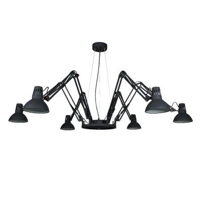 Светильник подвесной Arte lamp A2043SP-6BK Ragnoподвесные люстры лофт<br><br><br>S освещ. до, м2: 18<br>Крепление: Планка<br>Тип лампы: Накаливания / энергосбережения / светодиодная<br>Тип цоколя: E27<br>Цвет арматуры: ЧЕРНЫЙ<br>Количество ламп: 6<br>Диаметр, мм мм: 1700<br>Длина цепи/провода, мм: 700<br>Размеры: ?1150*H1329<br>Длина, мм: 1700<br>Высота, мм: 420<br>MAX мощность ламп, Вт: 60W<br>Общая мощность, Вт: 60W
