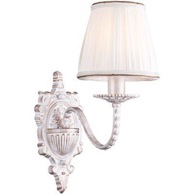 Бра с одним рожком Arte lamp A2046AP-1WG CalamaroКлассические<br><br><br>S освещ. до, м2: 4<br>Тип лампы: накаливания / энергосбережения / LED-светодиодная<br>Тип цоколя: E14<br>Цвет арматуры: белый с золотистой патиной<br>Количество ламп: 1<br>Ширина, мм: 150<br>Длина, мм: 290<br>Высота, мм: 340<br>MAX мощность ламп, Вт: 60