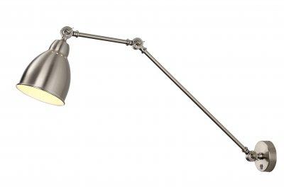 Светильник на штанге Arte Lamp A2055AP-1SSбра в стиле лофт<br>Светильник Arte Lamp A2055AP-1SS сразу же привлечет внимание благодаря своему необычному лофтовому дизайну и брутальному исполнению. Модель выполнена из качественных материалов, что обеспечивает ее надежную и долговечную работу. Такой вариант светильника можно использовать для интерьера не только гостиной, но и спальни или кабинета.