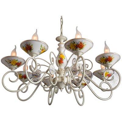 Люстра подвесная Arte lamp A2061LM-8WG FioratoПодвесные<br>Компания «Светодом» предлагает широкий ассортимент люстр от известных производителей. Представленные в нашем каталоге товары выполнены из современных материалов и обладают отличным качеством. Благодаря широкому ассортименту Вы сможете найти у нас люстру под любой интерьер. Мы предлагаем как классические варианты, так и современные модели, отличающиеся лаконичностью и простотой форм.  Стильная люстра Arte lamp A2061LM-8WG станет украшением любого дома. Эта модель от известного производителя не оставит равнодушным ценителей красивых и оригинальных предметов интерьера. Люстра Arte lamp A2061LM-8WG обеспечит равномерное распределение света по всей комнате. При выборе обратите внимание на характеристики, позволяющие приобрести наиболее подходящую модель. Купить понравившуюся люстру по доступной цене Вы можете в интернет-магазине «Светодом».<br><br>Установка на натяжной потолок: Да<br>S освещ. до, м2: 24<br>Крепление: Крюк<br>Тип лампы: накаливания / энергосбережения / LED-светодиодная<br>Тип цоколя: E14<br>Количество ламп: 8<br>MAX мощность ламп, Вт: 60<br>Диаметр, мм мм: 790<br>Длина цепи/провода, мм: 500<br>Высота, мм: 460<br>Цвет арматуры: белый с золотистой патиной