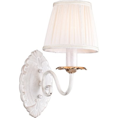 Бра Arte lamp A2065AP-1WG FelicitaКлассика<br><br><br>S освещ. до, м2: 4<br>Тип лампы: накаливани / нергосбережени / LED-светодиодна<br>Тип цокол: E14<br>Количество ламп: 1<br>Ширина, мм: 150<br>MAX мощность ламп, Вт: 60<br>Длина, мм: 300<br>Высота, мм: 480<br>Оттенок (цвет): белый<br>Цвет арматуры: белый с золотистой патиной