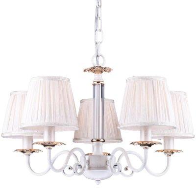 Подвесная люстра Arte lamp A2065LM-5WG FelicitaПодвесные<br><br><br>Установка на натяжной потолок: Да<br>S освещ. до, м2: 15<br>Крепление: Крюк<br>Тип товара: Люстра подвесная<br>Скидка, %: 7<br>Тип лампы: накаливания / энергосбережения / LED-светодиодная<br>Тип цоколя: E14<br>Количество ламп: 5<br>MAX мощность ламп, Вт: 60<br>Диаметр, мм мм: 600<br>Длина цепи/провода, мм: 500<br>Высота, мм: 370<br>Оттенок (цвет): белый<br>Цвет арматуры: белый