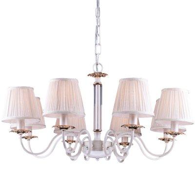 Подвесная люстра Arte lamp A2065LM-8WG FelicitaПодвесные<br>Компания «Светодом» предлагает широкий ассортимент люстр от известных производителей. Представленные в нашем каталоге товары выполнены из современных материалов и обладают отличным качеством. Благодаря широкому ассортименту Вы сможете найти у нас люстру под любой интерьер. Мы предлагаем как классические варианты, так и современные модели, отличающиеся лаконичностью и простотой форм. <br>Стильная люстра Arte lamp A2065LM-8WG станет украшением любого дома. Эта модель от известного производителя не оставит равнодушным ценителей красивых и оригинальных предметов интерьера. Люстра Arte lamp A2065LM-8WG обеспечит равномерное распределение света по всей комнате. При выборе обратите внимание на характеристики, позволяющие приобрести наиболее подходящую модель. <br>Купить понравившуюся люстру по доступной цене Вы можете в интернет-магазине «Светодом».<br><br>Установка на натяжной потолок: Да<br>S освещ. до, м2: 24<br>Крепление: Крюк<br>Тип лампы: накаливания / энергосбережения / LED-светодиодная<br>Тип цоколя: E14<br>Цвет арматуры: белый<br>Количество ламп: 8<br>Диаметр, мм мм: 800<br>Длина цепи/провода, мм: 500<br>Высота, мм: 400<br>Оттенок (цвет): белый<br>MAX мощность ламп, Вт: 60