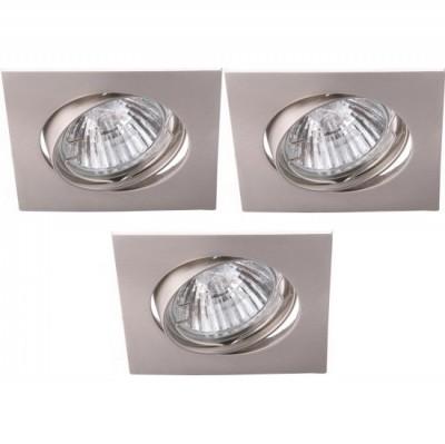 Светильник встраиваемый Arte lamp A2118PL-3SS QuadratischКвадратные<br><br><br>S освещ. до, м2: 10<br>Тип товара: точечный встраиваемый светильник<br>Скидка, %: 50<br>Тип лампы: галогенная<br>Тип цоколя: GU10<br>Количество ламп: 3<br>Ширина, мм: 82<br>MAX мощность ламп, Вт: 50<br>Диаметр, мм мм: 82<br>Диаметр врезного отверстия, мм: 75<br>Высота, мм: 110<br>Цвет арматуры: никель матовый/сплав