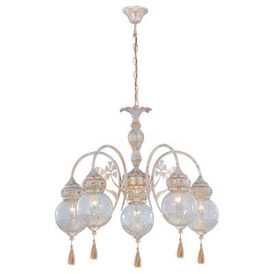 Светильник Arte lamp A2145LM-5GA RamsesПодвесные<br>Компания «Светодом» предлагает широкий ассортимент люстр от известных производителей. Представленные в нашем каталоге товары выполнены из современных материалов и обладают отличным качеством. Благодаря широкому ассортименту Вы сможете найти у нас люстру под любой интерьер. Мы предлагаем как классические варианты, так и современные модели, отличающиеся лаконичностью и простотой форм.  Стильная люстра Arte lamp A2145LM-5GA станет украшением любого дома. Эта модель от известного производителя не оставит равнодушным ценителей красивых и оригинальных предметов интерьера. Люстра Arte lamp A2145LM-5GA обеспечит равномерное распределение света по всей комнате. При выборе обратите внимание на характеристики, позволяющие приобрести наиболее подходящую модель. Купить понравившуюся люстру по доступной цене Вы можете в интернет-магазине «Светодом».<br><br>Установка на натяжной потолок: Да<br>S освещ. до, м2: 10<br>Крепление: Крюк<br>Тип лампы: накал-я - энергосбер-я<br>Тип цоколя: E14<br>Количество ламп: 5<br>MAX мощность ламп, Вт: 40<br>Диаметр, мм мм: 700<br>Высота, мм: 650<br>Цвет арматуры: белый с золотистой патиной