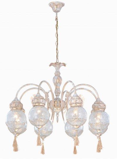 Светильник Arte lamp A2145LM-8GA RamsesПодвесные<br>Компания «Светодом» предлагает широкий ассортимент люстр от известных производителей. Представленные в нашем каталоге товары выполнены из современных материалов и обладают отличным качеством. Благодаря широкому ассортименту Вы сможете найти у нас люстру под любой интерьер. Мы предлагаем как классические варианты, так и современные модели, отличающиеся лаконичностью и простотой форм.  Стильная люстра Arte lamp A2145LM-8GA станет украшением любого дома. Эта модель от известного производителя не оставит равнодушным ценителей красивых и оригинальных предметов интерьера. Люстра Arte lamp A2145LM-8GA обеспечит равномерное распределение света по всей комнате. При выборе обратите внимание на характеристики, позволяющие приобрести наиболее подходящую модель. Купить понравившуюся люстру по доступной цене Вы можете в интернет-магазине «Светодом».<br><br>Установка на натяжной потолок: Да<br>S освещ. до, м2: 16<br>Крепление: Крюк<br>Тип лампы: накал-я - энергосбер-я<br>Тип цоколя: E14<br>Количество ламп: 8<br>MAX мощность ламп, Вт: 40<br>Диаметр, мм мм: 800<br>Высота, мм: 670<br>Цвет арматуры: белый с золотистой патиной