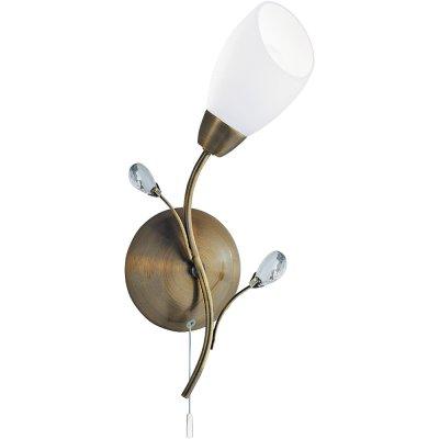 Светильник бра Arte Lamp A2766AP-1AB GardeniaФлористика<br><br><br>S освещ. до, м2: 3<br>Тип товара: Светильник настенный бра<br>Скидка, %: 10<br>Тип лампы: накаливания / энергосбережения / LED-светодиодная<br>Тип цоколя: E14<br>Количество ламп: 1<br>Ширина, мм: 200<br>MAX мощность ламп, Вт: 40<br>Диаметр, мм мм: 150<br>Высота, мм: 360<br>Цвет арматуры: бронзовый