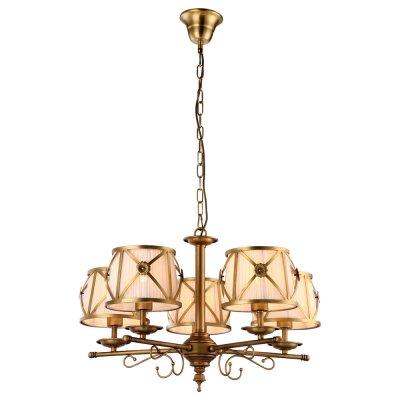 Светильник Arte lamp A2806LM-5SR CHICПодвесные<br><br><br>Установка на натяжной потолок: Да<br>S освещ. до, м2: 10<br>Крепление: Крюк<br>Тип товара: Светильник<br>Скидка, %: 10<br>Тип лампы: накал-я - энергосбер-я+<br>Тип цоколя: E27<br>Количество ламп: 5<br>MAX мощность ламп, Вт: 40<br>Диаметр, мм мм: 720<br>Высота, мм: 450<br>Цвет арматуры: золотой
