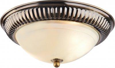 Светильник потолочный Arte lamp A3016PL-2AB ALTAПотолочные<br><br><br>Установка на натяжной потолок: Ограничено<br>S освещ. до, м2: 4<br>Крепление: Планка<br>Тип товара: Светильник потолочный<br>Тип лампы: Накаливания / энергосбережения / светодиодная<br>Тип цоколя: E27<br>Количество ламп: 2<br>MAX мощность ламп, Вт: 40<br>Размеры: H11xW28xL28<br>Цвет арматуры: бронзовый