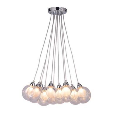 Светильник подвесной Arte lamp A3025SP-11CC Palloneподвесные люстры хай тек<br><br><br>Установка на натяжной потолок: Да<br>S освещ. до, м2: 22<br>Крепление: Планка<br>Тип лампы: галогенная/LED<br>Тип цоколя: G9 LED<br>Цвет арматуры: Серебристый хром<br>Количество ламп: 11<br>Диаметр, мм мм: 420<br>Длина цепи/провода, мм: 1000<br>Размеры: glass size 10-11cm<br>Длина, мм: 420<br>Высота, мм: 130<br>MAX мощность ламп, Вт: 5W<br>Общая мощность, Вт: 5W