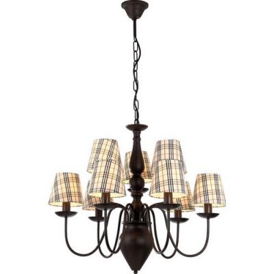 Люстра подвесная Arte lamp A3090LM-6-3CK ScotchСнято с производства<br><br><br>S освещ. до, м2: 24<br>Крепление: пластина/крюк<br>Тип лампы: накаливания / энергосбережения / LED-светодиодная<br>Тип цоколя: E14<br>Количество ламп: 9<br>Ширина, мм: 700<br>MAX мощность ламп, Вт: 40<br>Диаметр, мм мм: 700<br>Длина цепи/провода, мм: 900<br>Высота, мм: 600<br>Цвет арматуры: коричневый