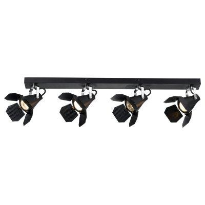 Светильник Arte lamp A3092PL-4BK CINEMAС 4 лампами<br>Светильники-споты – это оригинальные изделия с современным дизайном. Они позволяют не ограничивать свою фантазию при выборе освещения для интерьера. Такие модели обеспечивают достаточно качественный свет. Благодаря компактным размерам Вы можете использовать несколько спотов для одного помещения.  Интернет-магазин «Светодом» предлагает необычный светильник-спот ARTE Lamp A3092PL-4BK по привлекательной цене. Эта модель станет отличным дополнением к люстре, выполненной в том же стиле. Перед оформлением заказа изучите характеристики изделия.  Купить светильник-спот ARTE Lamp A3092PL-4BK в нашем онлайн-магазине Вы можете либо с помощью формы на сайте, либо по указанным выше телефонам. Обратите внимание, что у нас склады не только в Москве и Екатеринбурге, но и других городах России.<br><br>S освещ. до, м2: 10<br>Тип лампы: галогенная/LED<br>Тип цоколя: GU10<br>Цвет арматуры: черный<br>Количество ламп: 4<br>Ширина, мм: 90<br>Длина, мм: 820<br>Высота, мм: 130<br>MAX мощность ламп, Вт: 50