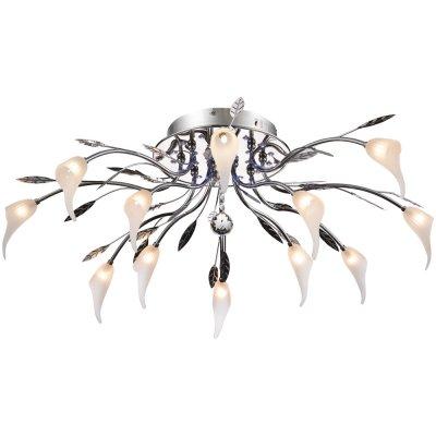 Потолочная люстра Arte lamp A3105PL-8-4CC CallaПотолочные<br>Компания «Светодом» предлагает широкий ассортимент люстр от известных производителей. Представленные в нашем каталоге товары выполнены из современных материалов и обладают отличным качеством. Благодаря широкому ассортименту Вы сможете найти у нас люстру под любой интерьер. Мы предлагаем как классические варианты, так и современные модели, отличающиеся лаконичностью и простотой форм.  Стильная люстра Arte lamp A3105PL-8-4CC станет украшением любого дома. Эта модель от известного производителя не оставит равнодушным ценителей красивых и оригинальных предметов интерьера. Люстра Arte lamp A3105PL-8-4CC обеспечит равномерное распределение света по всей комнате. При выборе обратите внимание на характеристики, позволяющие приобрести наиболее подходящую модель. Купить понравившуюся люстру по доступной цене Вы можете в интернет-магазине «Светодом». Мы предлагаем доставку не только по Москве и Екатеринбурге, но и по всей России.<br><br>Установка на натяжной потолок: Да<br>S освещ. до, м2: 17<br>Крепление: Планка<br>Тип товара: Люстра<br>Скидка, %: 18<br>Тип лампы: галогенная / LED-светодиодная<br>Тип цоколя: G4 + LED<br>Количество ламп: 12 и 26<br>MAX мощность ламп, Вт: 20 и 0.05<br>Диаметр, мм мм: 880<br>Высота, мм: 280<br>Оттенок (цвет): Прозрачный<br>Цвет арматуры: серебристый