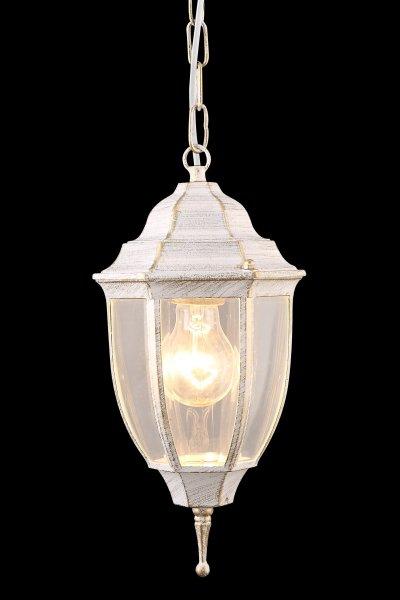 Светильник уличный Arte lamp A3151SO-1WG PEGASUSПодвесные<br><br><br>Тип товара: Светильник уличный<br>Тип лампы: Накаливания / энергосбережения / светодиодная<br>Тип цоколя: E27<br>Количество ламп: 1<br>MAX мощность ламп, Вт: 60<br>Размеры: H31xW16xL16+шн/цп50<br>Цвет арматуры: белый