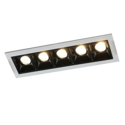 Светильник Arte lamp A3153PL-5BKКарданные светильники<br><br><br>Тип лампы: LED - светодиодная<br>Тип цоколя: LED, встроенные светодиоды<br>Цвет арматуры: серебристый<br>Количество ламп: 5<br>Ширина, мм: 346<br>Глубина, мм: 44.5<br>Диаметр врезного отверстия, мм: 40 x 140<br>Поверхность арматуры: матовая<br>Оттенок (цвет): серебристый<br>Общая мощность, Вт: 15