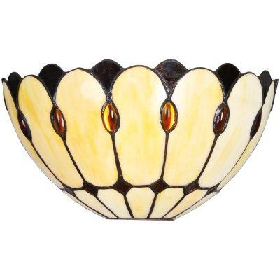 Настенный светильник Arte lamp A3163AP-1BG PerlaТиффани<br><br><br>S освещ. до, м2: 3<br>Тип лампы: накаливания / энергосбережения / LED-светодиодная<br>Тип цоколя: E27<br>Цвет арматуры: коричневый<br>Количество ламп: 1<br>Ширина, мм: 310<br>Длина, мм: 140<br>Высота, мм: 160<br>Оттенок (цвет): бежевый<br>MAX мощность ламп, Вт: 60