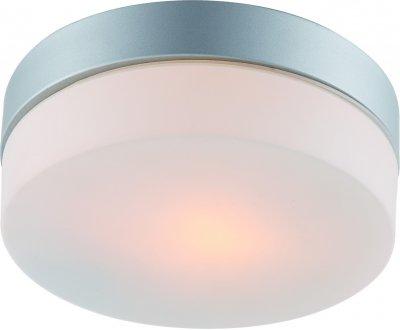 Светильник потолочный Arte lamp A3211PL-1SI AQUAКруглые<br><br><br>S освещ. до, м2: 1<br>Тип товара: Светильник потолочный<br>Тип лампы: Накаливания / энергосбережения / светодиодная<br>Тип цоколя: E27<br>Количество ламп: 1<br>MAX мощность ламп, Вт: 60<br>Размеры: H8xW19xL19<br>Цвет арматуры: серебро