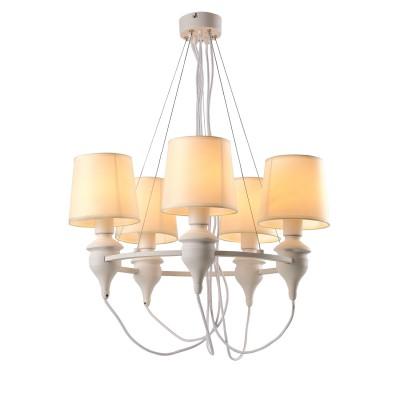A3326LM-5WH Arte lamp СветильникПодвесные<br><br><br>S освещ. до, м2: 10<br>Крепление: Планка<br>Тип лампы: Накаливания / энергосбережения / светодиодная<br>Тип цоколя: E14<br>Количество ламп: 5<br>MAX мощность ламп, Вт: 40W<br>Диаметр, мм мм: 600<br>Размеры: ?60*H90<br>Длина, мм: 600<br>Высота, мм: 900<br>Цвет арматуры: БЕЛЫЙ<br>Общая мощность, Вт: 40W