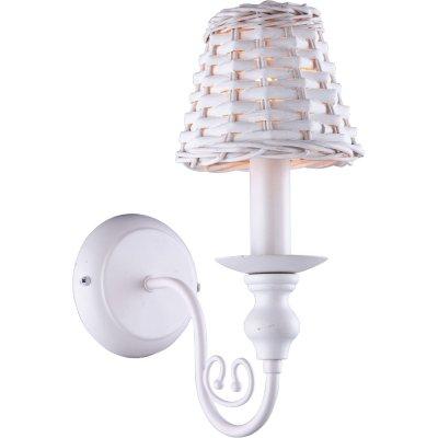 Бра Arte lamp A3400AP-1WH VillaggioРустика<br><br><br>S освещ. до, м2: 1<br>Тип товара: Светильник настенный бра<br>Тип лампы: накаливания / энергосбережения / LED-светодиодная<br>Тип цоколя: E14<br>Количество ламп: 1<br>Ширина, мм: 140<br>MAX мощность ламп, Вт: 25<br>Длина, мм: 220<br>Высота, мм: 320<br>Оттенок (цвет): белый<br>Цвет арматуры: белый