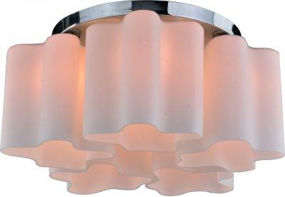 Светильник потолочный Arte lamp A3479PL-5CC SERENATAПотолочные<br><br><br>Установка на натяжной потолок: Ограничено<br>S освещ. до, м2: 10<br>Крепление: Планка<br>Тип товара: Светильник потолочный<br>Тип лампы: Накаливания / энергосбережения / светодиодная<br>Тип цоколя: E27<br>Количество ламп: 5<br>MAX мощность ламп, Вт: 40<br>Размеры: H27xW51xL51<br>Цвет арматуры: серебристый