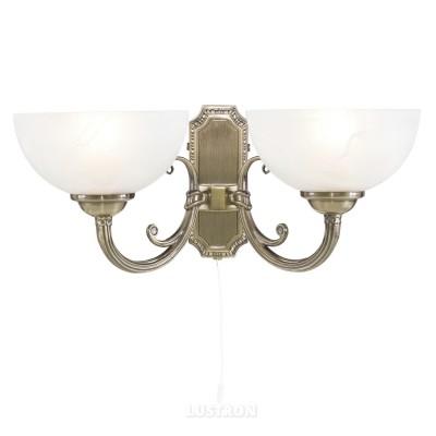 Светильник бра Arte Lamp A3777AP-2AB Windsor whiteКлассика<br><br><br>S освещ. до, м2: 6<br>Тип товара: Светильник настенный бра<br>Скидка, %: 17<br>Тип лампы: накаливания / энергосбережения / LED-светодиодная<br>Тип цоколя: E14<br>Количество ламп: 2<br>Ширина, мм: 420<br>MAX мощность ламп, Вт: 40<br>Диаметр, мм мм: 220<br>Высота, мм: 200<br>Цвет арматуры: бронзовый
