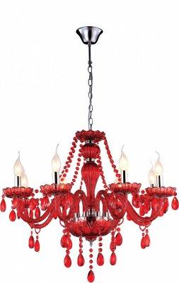 Люстра красная Arte lamp A3964LM-8RD TeatroПодвесные<br><br><br>Установка на натяжной потолок: Да<br>S освещ. до, м2: 32<br>Крепление: Крюк<br>Тип товара: Люстра подвесная<br>Тип лампы: накаливания / энергосбережения / LED-светодиодная<br>Тип цоколя: E14<br>Количество ламп: 8<br>MAX мощность ламп, Вт: 60<br>Диаметр, мм мм: 760<br>Высота, мм: 600 - 1000